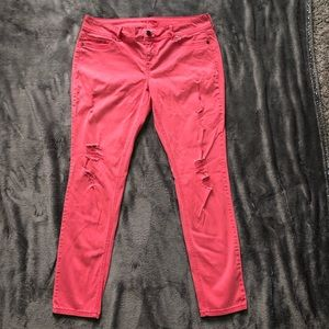 Pink distressed skinny jeans size XL-R